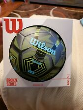 Wilson Bronze Series Soccer Ball size 5, New, Green and Blue, Hex Stinger