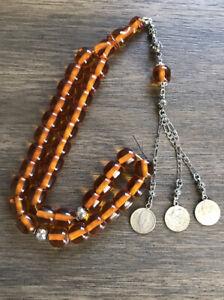 New Collectible Turkish Faturan Amber Rosary 33 Beads سبحة مسباح فاتوران