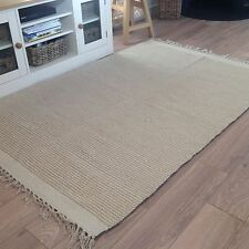 ❤️Two Tone Beige Stripe Cotton & Jute Rug with Fringing 120cm x 180cm Flat Weave