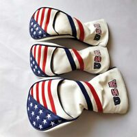 3pcs USA Stars Stripes Golf Wood Cover Driver Fairway Wood Headcover 1 3 5 Cover