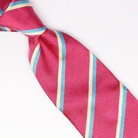 John G Hardy Mens Silk Necktie Hot Pink Light Blue White Repp Stripe Weave Tie