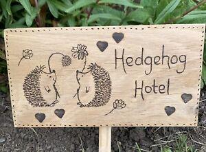 Wooden Hedgehog Hotel Garden Sign