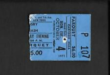 David Crosby Graham Nash Carnegie Hall Nyc Ticket Stub 1971
