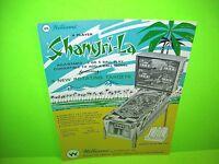 Williams SHANGRI-LA 1967 Original NOS Flipper Game Pinball Machine Sales Flyer