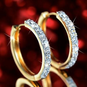 18k yellow white gold gf made with SWAROVSKI crystal hoop huggies earrings 27mm