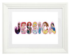 White Framed Print Picture inc Mount Disney Princesses Personalised Name Letters