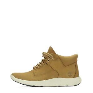 Timberland Flyroam Leather Mid Chukka Mens Trainers Shoes In Wheat