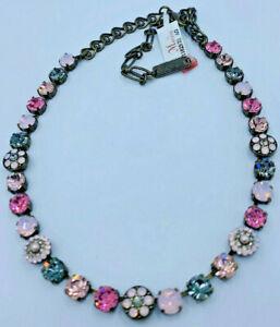 Mariana Necklace Jewelry Pink Gray Crystal Rhinestone Swarovski Mosaic Brass