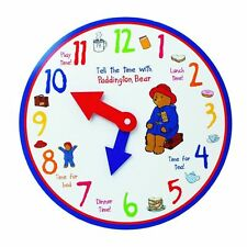 PADDINGTON BEAR TELL THE TIME WOODEN TOY CLOCK