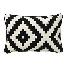"NEW IKEA LAPPLJUNG RUTA CUSHION COVER 26x16"" BLACK WHITE 100% COTTON PILLOW CASE"
