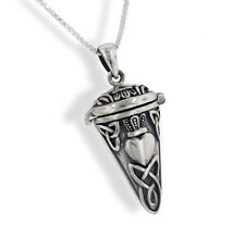 Celtic Knot Heart Sterling Silver Pendulum Box Necklace