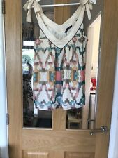 French Conection Size 36 Inch Chest Silk  Ivory Mix Sleeveless Top