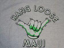 Vintage Hang Loose Maui Shaka NOS Heather Gray Medium Made In USA POLY TEES