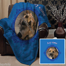 PERSONALISED BLUE DOG PET BLANKET FLEECE DESIGN SOFT FLEECE COVER THROW