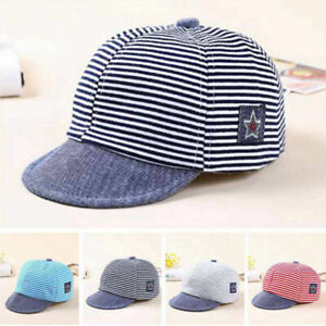 Fashion Baby Boy Hat Striped Soft Cotton Sunhat Eaves Baseball Cap Sun Hat Beret