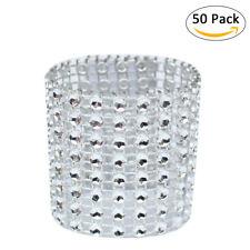 50pcs Bling Diamond Rhinestone Mesh Wrap Napkin Ring Buckle Chair Wedding Decor
