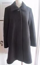Liz Claiborne Placket Front 100% Boiled Nubby Wool Dress Top Over Coat Womens 8