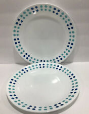 """Corelle Key West Set of 4 Dinner Plates 10-1/4"""" White W/ Blue/turquoise Dots"""