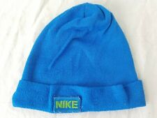 Vintage Nike Swoosh patch Logo 70s 80s Beanie knit Hat blue rare