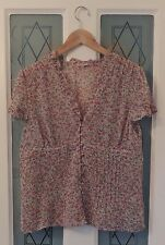 Phase Eight Purple Rose Print Ruffle Detail Sheer Short Sleeves Size 16 Ex Cond
