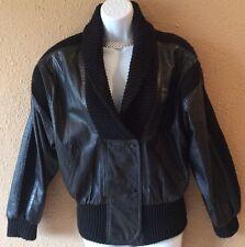 AVANTI Black Leather & Wool Knit Fabric Women's Sweater Jacket Coat Size Small