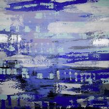 Abstraktes Gemälde auf Leinwand 1m x 1m Blau Weiß Silber