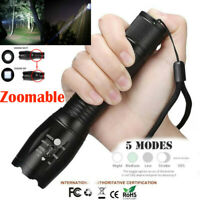60000Lumens T6 Zoomable 5-Modes Tactical 18650 Flashlight Focus Torch ~