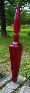 1960's etch signed Blenko Regal Decanter Wayne Husted w/ruby red stopper