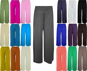 Ladies Womens Elasticated Plazzo Flared Trousers Summer Lounge Pants Size 8-26