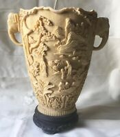 Vintage Large Heavy Carved Resin Chinese Vase On Base A/F