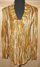 Jones New York Inca Gold Multi Animal Print L/S Jersey Knit Top, Small - $49