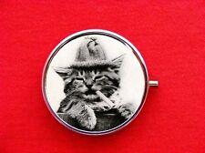 TOM CAT SMOKING HOBO KITTY RING TRINKET STASH ROUND MINT METAL PILL BOX CASE