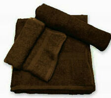 24 (2 DZ) NEW BROWN SALON HAND TOWELS DOBBY BORDER RINGSPUN COTTON 16X27 3#