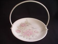 VINTAGE POOLE POTTERY CAKE PLATE WITH HANDLE-FLORAL DECORATION