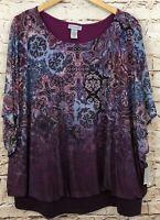 Catherines womens 2X Blouson top shirt purple paisley new mesh overlay dolman D1