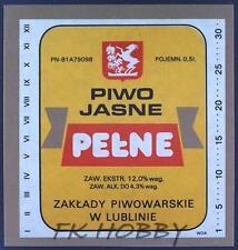 Poland Brewery Lublin Pełne Beer Label Bieretikett Etiqueta Cerveza lu34.1