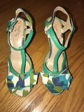 POETIC LICENCE Floral Wedges Peep Toe High Heels Women Shoes Pumps Sz 8.5 #
