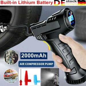 Schnurlose LCD Luftpumpe Luftkompressor Druckluft Akku Auto Fahrrad Reifenfülle
