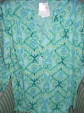 "NWT FRESH PRODUCE WMS """" IKAT "" DESIGN DOCKSIDE HENLEY ON  . A MUST HAVE (XL)"