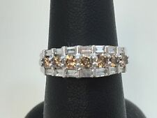 Elegant 14k White Gold Champagne and White Diamond Ring W/Appraisal