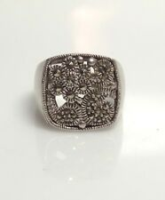 EXCEPTIONAL Sterling Silver & Marcasite Flower RING- Sz 8, 8.77 Grams- ESTATE