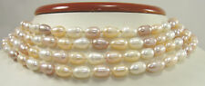 Keshi Freshwater Pearl Necklace 7-12mm Multicolor Elongated Oval Baroque Strand