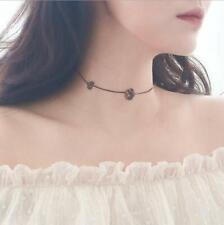 Double Flower Black Roses Silver SP Pendant Chain Choker Necklace