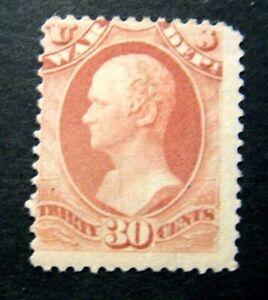 1873 US S# O92, 30c War Dept, hard paper Official Stamp Rose, MLH OG