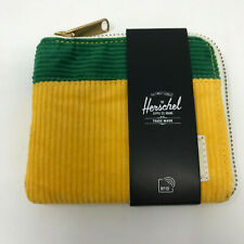 New NWT Unisex Herschel Supply Co. Johnny Wallet Green Yellow Zippered Pouch