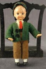 "Vintage Ethnic Costume 5"" Dollhouse Doll AUSTRIA Boy Felt Clothing Celluloid"