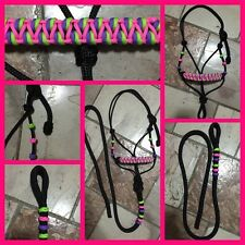 BNWT Pony Size Rope Halter Black With Lead ~ Horse Gear Tack Horsemanship
