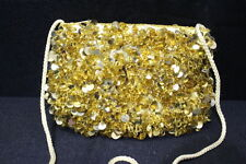 SUPER SPARKLY Sequin & Beaded GOLD Shoulder Bag, Yellow Rope Strap