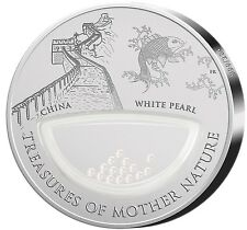 "2012 $1 TREASURES OF MOTHER NATURE ""WHITE PEARL"" China Silver Coin."