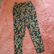 H&M Sz 6 Patterned Pants Womens Pockets Lightweight Multi-Color Gathered Tapered